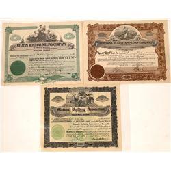 Forsyth, Montana Stock Certificate Trio  [127571]