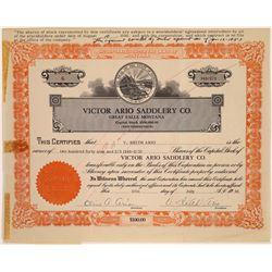 Victor Ario Saddlery Company Stock Certificate  [129638]