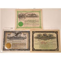 Red Lodge, Montana Stock Certificate Trio  [127579]