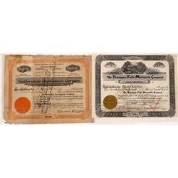 Thompson Falls, Montana Stock Certificate Pair--Both #1  [129579]