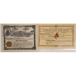 Montana Music-Related Businesses Stock Certificate Pair  [129630]