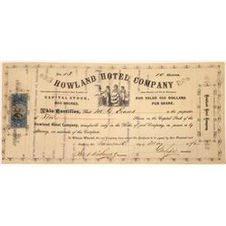 Howland Hotel Company Stock Certificate  [107921]
