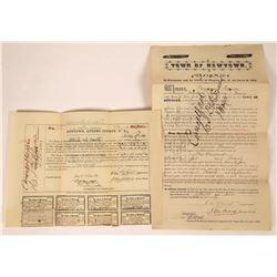 Newtown NY 1870 Bond & Loan Certificates (2)  [127403]