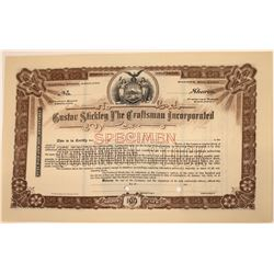 Gustav Stickley The Craftsman Incorporated Stock Certificate  [113902]