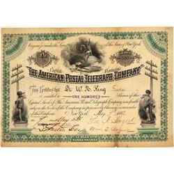 American Postal Telegraph Company Stock Certificate, 1883  [131016]