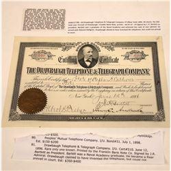 Drawbaugh Telephone & Telegraph Company Stock, New York, 1896  [131087]