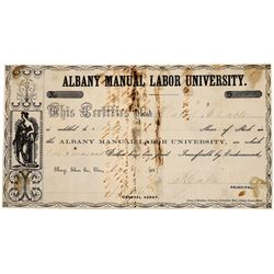 Albany Manual Labor University Stock Certificate  [129785]