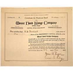 Mount Hood Lodge Company Stock Certificate  [107922]