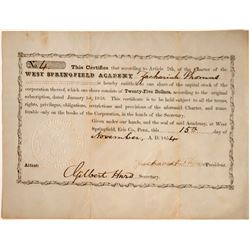 Springfield (PA.)  Academy 1854 Stock Certificate  [127425]