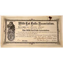 1872 Stock Certificate Wild Cat Falls Association  [127411]