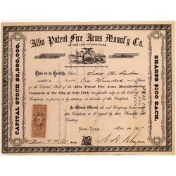 Stock Certificate for the Allin Patent Fire Arms Manufacturing Co.  [127137]