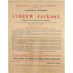 """1860 Broadside for """"A Pictorial Biography of Andrew Jackson""""  [128864]"""