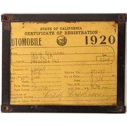 1920 Ford Tour Model T Vehicle Registration  [129525]