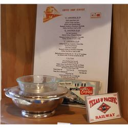 Texas and Pacific Railway Dining Car Silver and Ephemera  [133306]