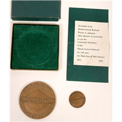 Illinois Central Railroad 2 Commemorative Centennial Medal  [131329]