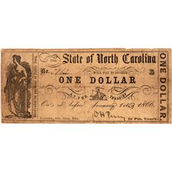 Rare 1861 State of North Carolina One Dollar Civil War Note   [129507]