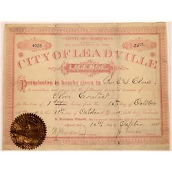 Boxing Match License from Leadville, 1885  [131074]