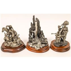 American Indian Family Pewter Sculptures (3)  [131136]