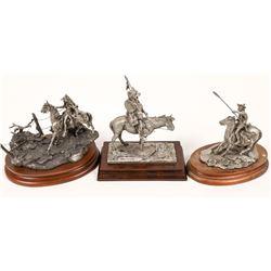 Three Mounted Warrior Pewter Sculptures  [131142]