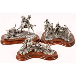 Cow Roping Pewter Statues (3)   [129971]