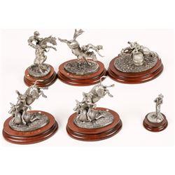 Rodeo Cowboy Pewter Sculptures (6)  [131140]