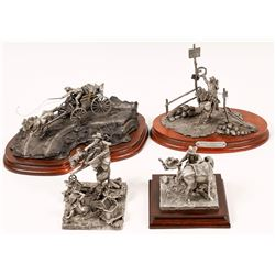 Western Pewter Statues (4)  [129972]