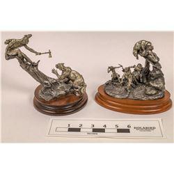 Lion Hunt Pewter Statues (2)  [129962]