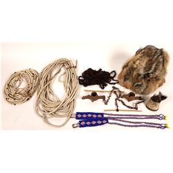 Ethnic Ostrich Shell Necklace, Brush, Fur Hat, clay pipes, Black Necklace  [131434]