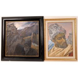 Russian Oil Painting Pair  [131542]
