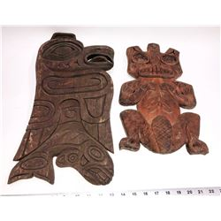 Pacific Northwest  Hand Carved Cedarwood Figures, Signed Lot of 2  [131384]