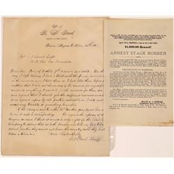 R.H. Paul Letter re Stage Robbery and Murder, 1883, Arizona Territory  [126918]