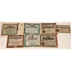Sixty Six Revenue Stamps on Seven Stock Certs  [127360]