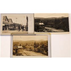 Gold Flat, Grass Valley, California, Electric Street Car Postcards - 3 RPCs  [129014]