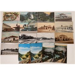 Central Valley and Northern California RR Postcards - 11 Color; 6 B&W  [129008]