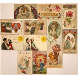 Fancy Valentine Postcards Including Two With Moveable Pinwheel (12)  [118807]