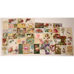 Embossed Flowers  Postcards Group (52)  [129515]