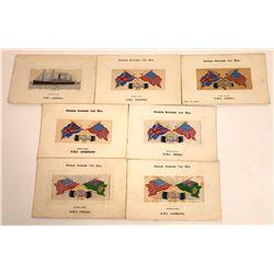 Hands Across the Sea- Silk British Ships Postcards (7)  [118791]