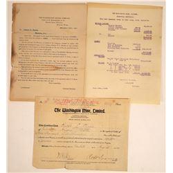 Washington Mine, Limited, Stock and Ephemera  [113846]