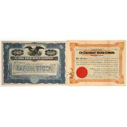 Two Different Alaska Mining Stock Certificates  [113988]