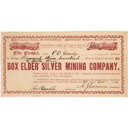 Box Elder Silver Mining Company Stock Certificate  [128282]