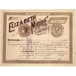 Elizabeth Mining Co. Stock Certificate w/ Morgan Dollar Vignettes  [129614]