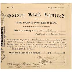 Golden Leaf, Ltd. Stock Certificate, Montana, 1890  [128804]