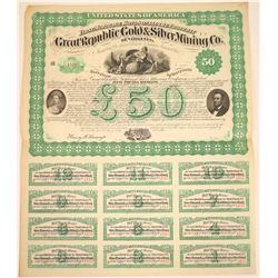 Great Republic Gold & Silver Mining Co. Of Virginia Bond, 1867  [128795]