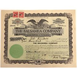 Zeb Kendall's Stock Certificate of  the Balsamea Company  [128453]