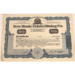 C.C. Julian Signed New Monte Cristo Mining Co. Stock Certificate  [128272]