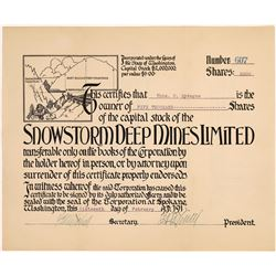 Snowstorm Deep Mines Limited Stock Certificate  [128271]