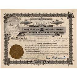 Offshore Gold Dredging Company Stock, Washington  [128631]