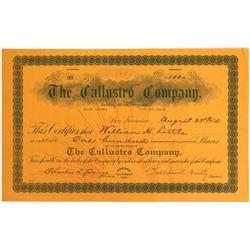 Callustro Company Stock Certificate  [128457]