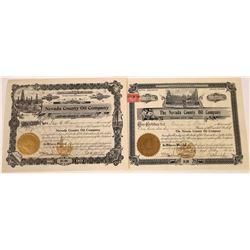 Nevada County Oil Company Stock Certificates  [127898]