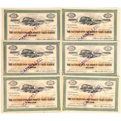 San Francisco & San Joaquin Valley Railway Co. Stocks Signed by Spreckels  [113958]